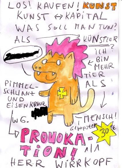 Cartoon - Los! Kaufe! Kunst! Herr Wirrkopf, Art Cologne, Eisenkreuz und Pimmelschwanz