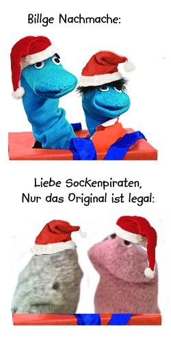 Sockenpiraterie, Strumpf und Socken Plagiat gesehen auf blau.de